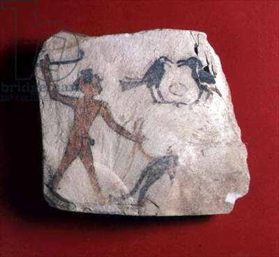 Ostracon with a sketch depicting a boy driving an animal, probably a baboon, to pick fruit with two crows, New Kingdom, c.1303-1224 BC (painted limestone)