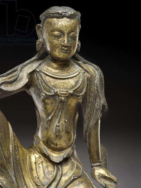 Bodhisattva Avalokitesvara, Yuan dynasty (gilt bronze) (detail of 119005)