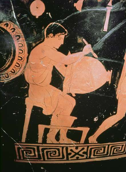 Attic red-figure bell-crater, detail showing a potter painting a bell-crater, c.430-425 BC (ceramic) (detail from 100556)