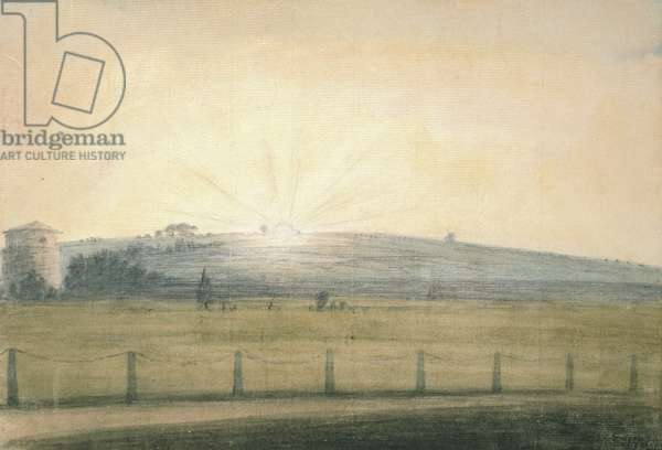 Sun Setting seen from the Observatory at Oxford, 20 December 1784 (watercolour over graphite, on paper)