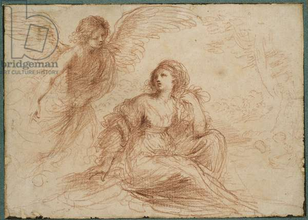 An angel appearing to Hagar and Ishmael, c.1653 (red chalk)