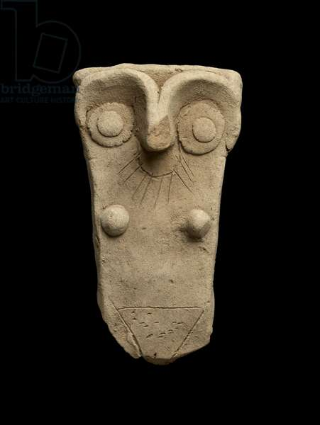 Handle from a jar worked as a mother goddess, Early Dynastic III (baked clay)