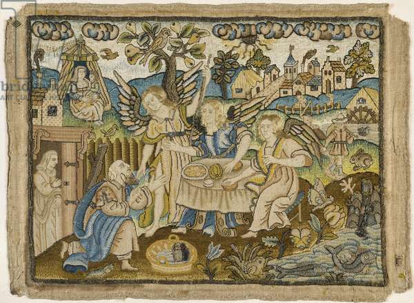 """Embroidered picture: """"Abraham entertaining the Angels"""", 2nd half of the 17th century (silk and metal threads on linen)"""