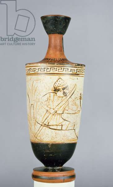 Attic white-ground lekythos decorated with Charon, the ferryman of the Underworld receiving the soul of a dead person, from Athens, c.475-425 BC (ceramic)