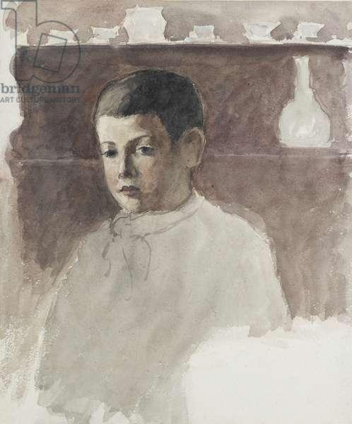Half-length portrait of Lucien Pissarro (1863-1944), c. 1875 (watercolour over charcoal)