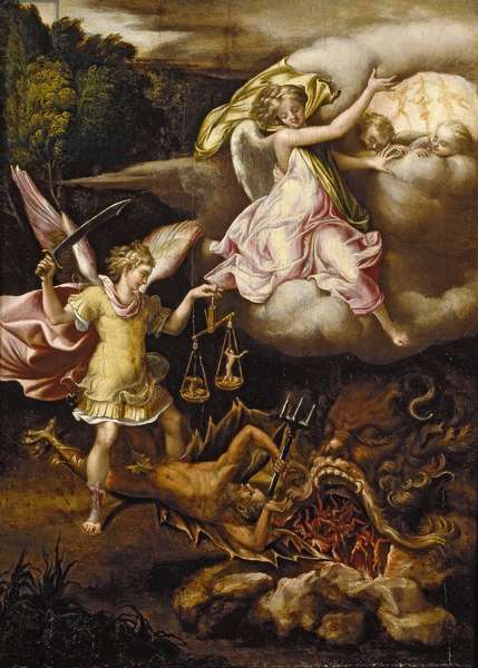 St Michael subduing Satan and weighing the Souls of the Dead, c. 1540 - 1549 (oil on panel)