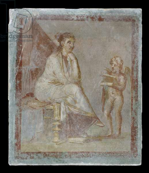 Framed vignette painted in fresco on a green wall: Cupid reveals the contents of a gilded box to a seated woman, 65-75 AD (fresco)