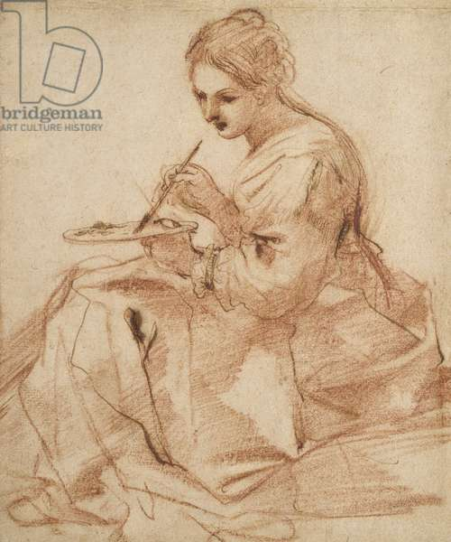 A Woman Painting (An allegory of painting), c.1618 (red chalk touched with pen and brown ink on off-white paper)