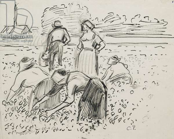 Study of five peasant figures working in a field, 1887 (pen and ink over black chalk)