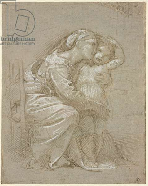 A mother embracing a child, WA1846.202 (metalpoint with white heightening on grey prepared paper, indented fro transfer)