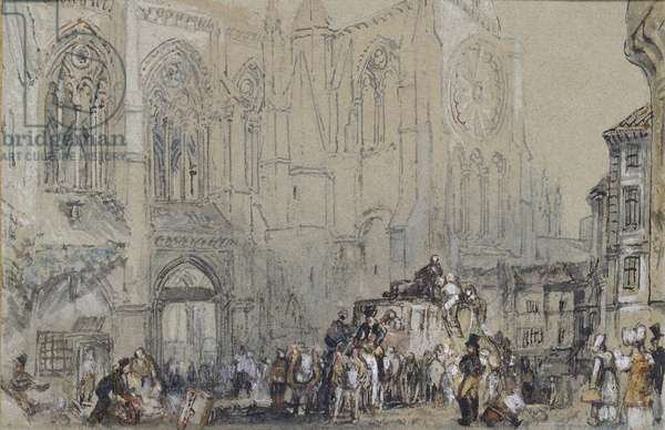 The Church of St Julien, Tours, c. 1830 (watercolour over graphite with bodycolour and pen and brown and black ink)