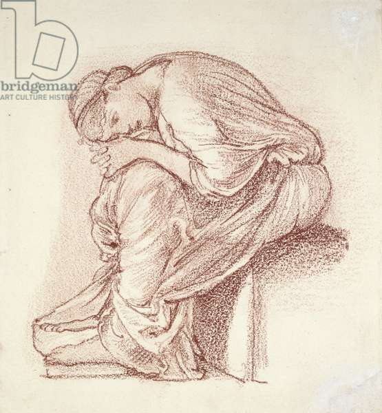 Seated Figure of a Woman (dark red chalk on white paper)