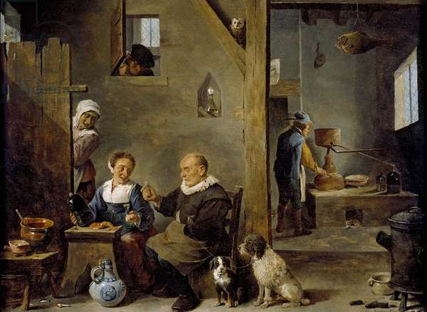 A Distillery with an elderly Man buying Gin from a Woman, c. 1640-49 (oil on panel)