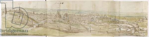 Panoramic View of Leuven from the North-West (pen and brown ink and watercolour over black chalk)