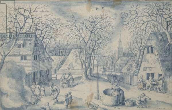 A Village Scene: Winter, 16th century (brush and blue watercolour)