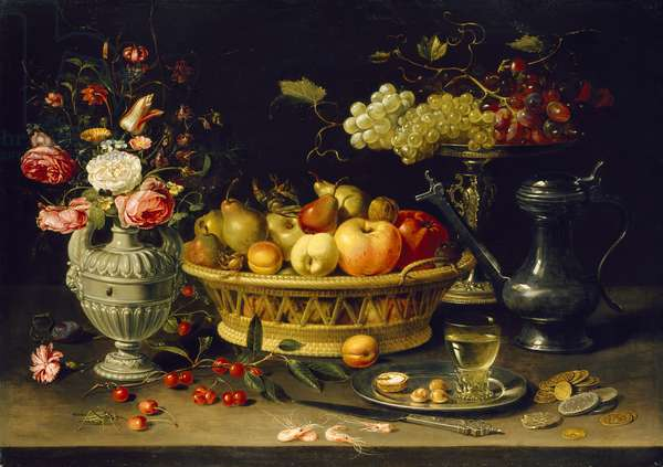 Still Life of Fruit and Flowers, 1608 - 1621 (oil on copper)