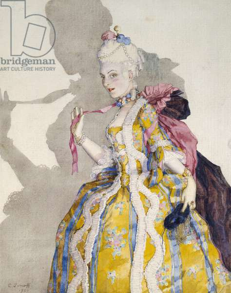 Design for a Costume of a Marquise for the ballerina Tamara Karsavina, 1924 (watercolour and touches of bodycolour within a delineated border in black ink on white wove paper)