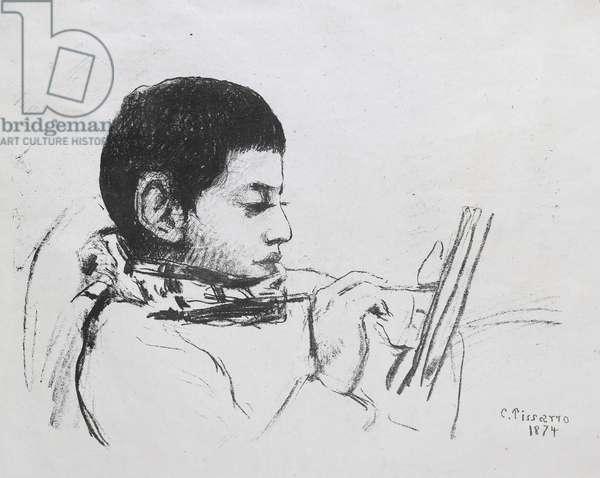 Portrait de Lucien Pissarro, 1874 (lithograph)