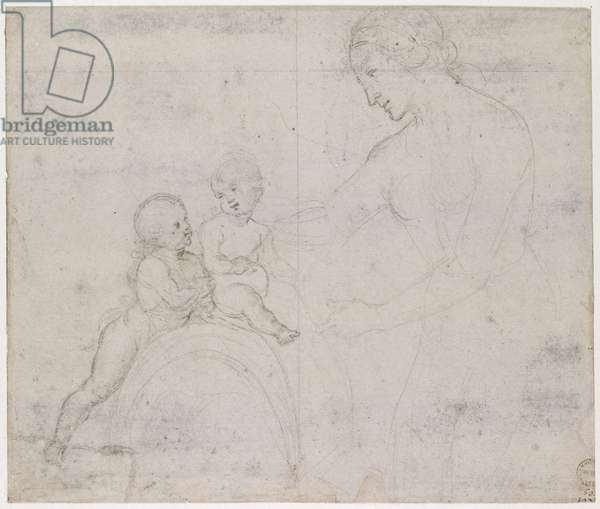 The Virgin and Child with St John, WA1846.146 (metalpoint on light pink prepared paper)