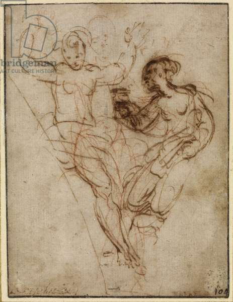 Psyche presenting to Venus the Vase of Proserpine, WA1846.286 (pen & brown ink over red chalk)