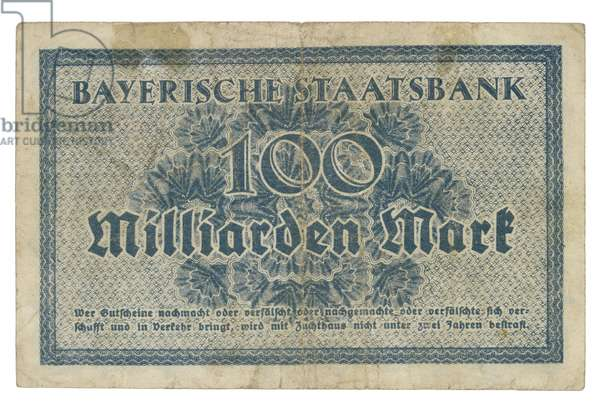 German Banknote from the Bavarian State Bank, Bayerische Staatsbank, 1923 (paper)