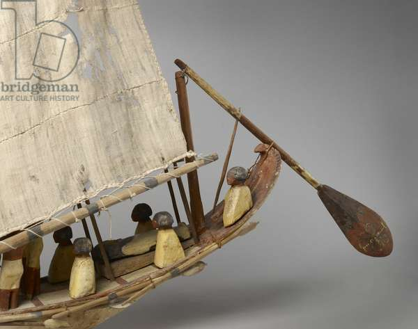 Model boat with sail, oars and 10 figures, c.1975-1640 BC (wood, gesso, textile, paint & string)