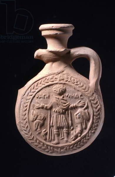 Pilgrim flask associated with the shrine of St Menas at Abu Mina, c.501-700 (pottery)