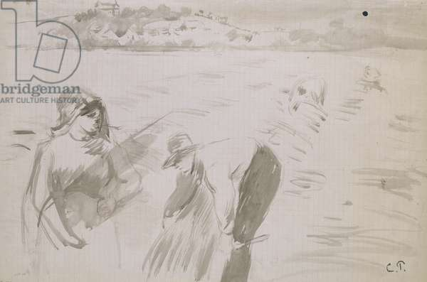 Study of harvesters working in a field near Pontoise (grey wash with brown ink on paper)