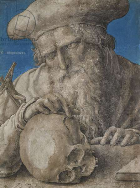 St Jerome, 1521 (black chalk with finely hatched brushwork and blue ground)