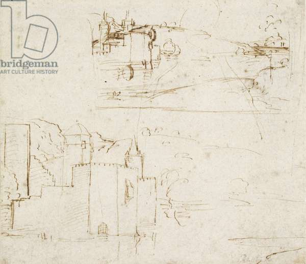 Recto: Two separate Sketches of Landscapes, WA1846.152b (pen & brown ink over blind stylus)