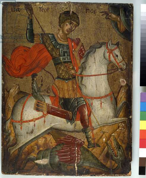 St. George slaying the Dragon, icon, Creto-Venetian School, (oil on panel)