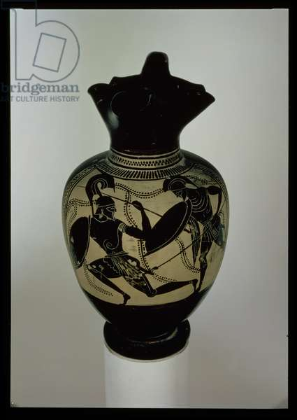 Athenian black-figure oinichoe decorated with two fighting warriors (ceramic)