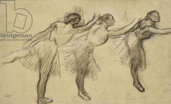 Three Studies of a Ballerina (charcoal rubbed and touched with pink and brown pastels on thin, yellowish, oiled paper, laid down on stiff paper)