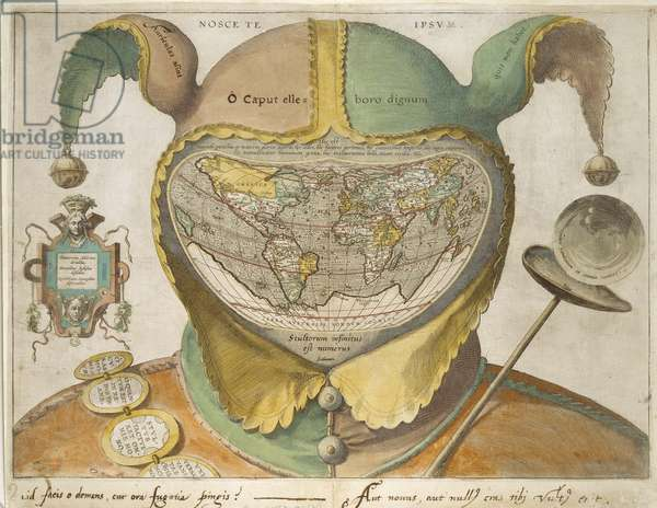 Fool's Cap World Map, c.1590 (hand-coloured engraving on off-white paper, with inscriptions in iron gall ink)
