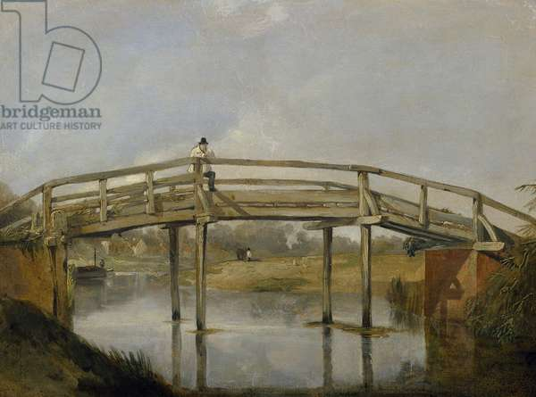 Landscape with a River and Bridge, c. 1830 (oil on canvas)