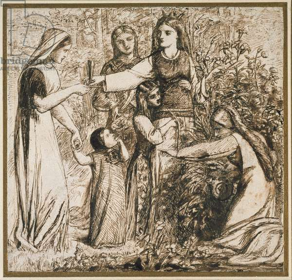 Dante's Vision of Matilda gathering Flowers, 1855 (pen and brown ink on off-white paper)