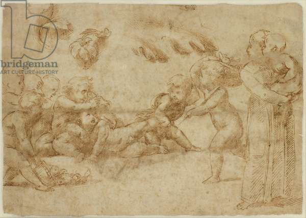Verso: Amorini at play, WA1846.169 (pen & brown ink with some later indentation in parts)
