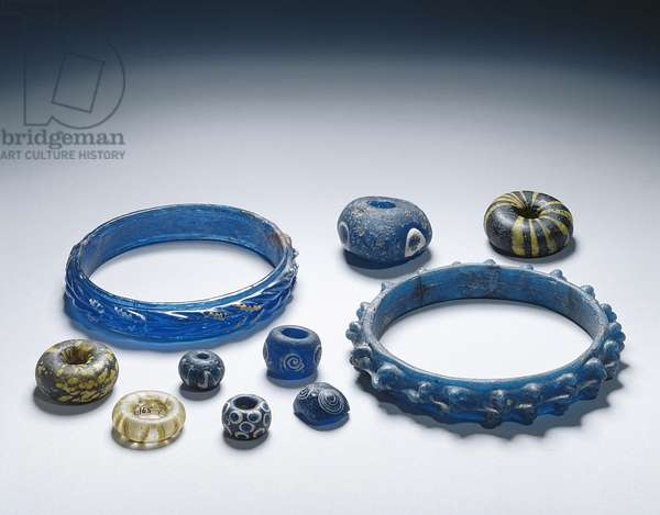 Bracelets and beads, Iron Age (glass)