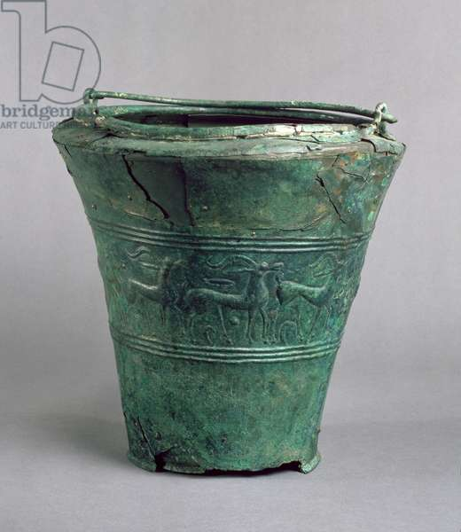 Situla with a repousse decorative band, probably Italian or Eastern European, Bronze Age (copper alloy)