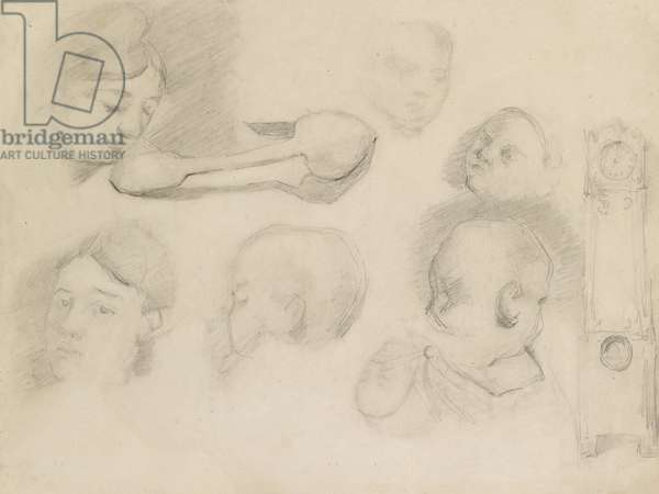 Studies of a Mother and Child, 19th century (pencil on paper)