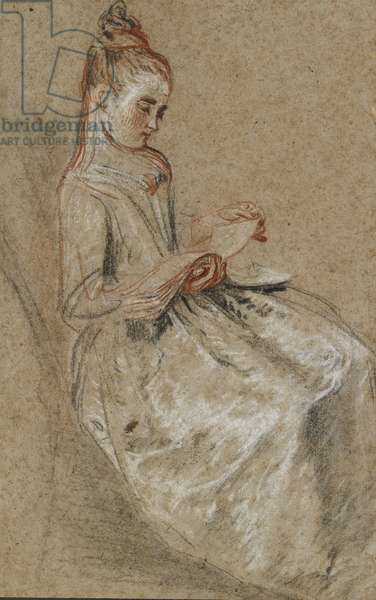 Girl Seated with a Book of Music on her Lap (black, red & white chalks on coarse-textured brown paper)