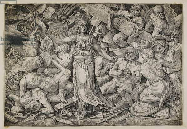 Victoria surrounded by Prisoners and Trophies, 1552 (etching)