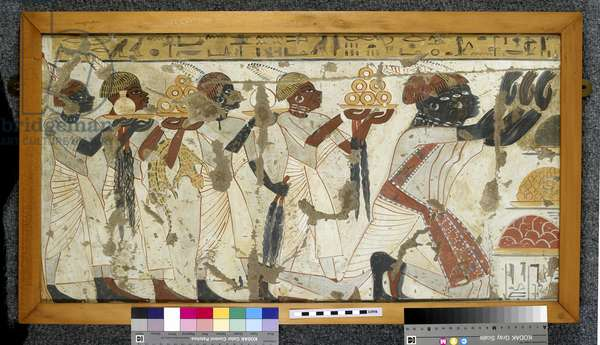 Copy of wall painting from private tomb 40 of Huy, Thebes (I,1, 75-78), Nubians with tribute (tempera)