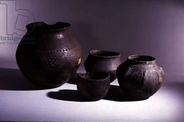 Group of pots, East Anglian cemeteries, Anglo-Saxon, c.5th century (pottery)