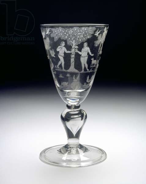 Goblet with the Fall of Adam and Eve, c. 1710 - 1720 (Glass)