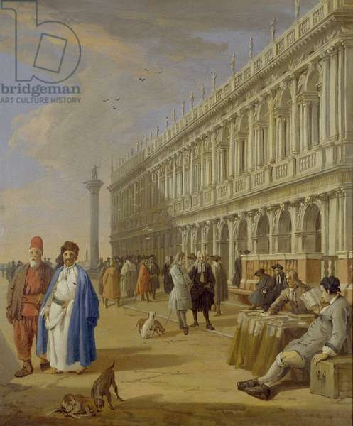 Venice: The Piazzetta with Figures, 18th century (oil on canvas)