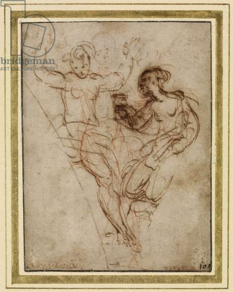 Psyche presenting to Venus the Vase of Proserpine (pen and brown ink over red chalk on brownish paper)