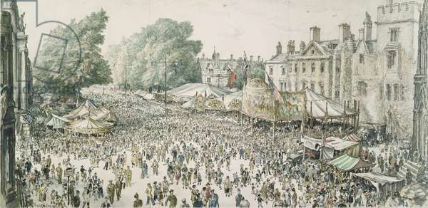St. Giles Fair, Oxford, 1945 (w/c on paper)