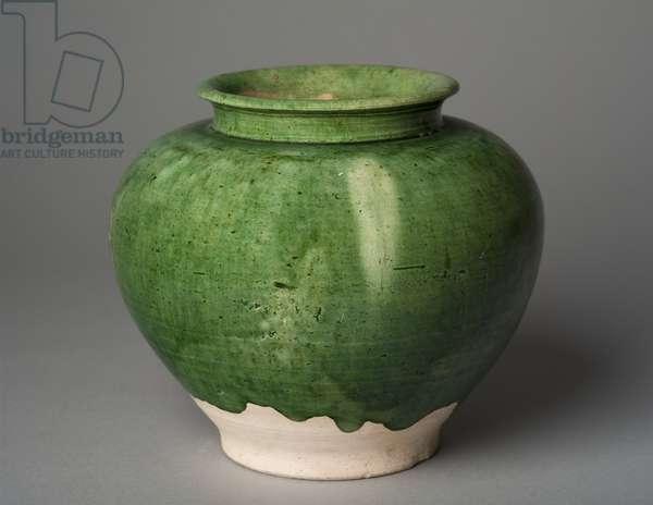 Green-glazed jar (earthenware)
