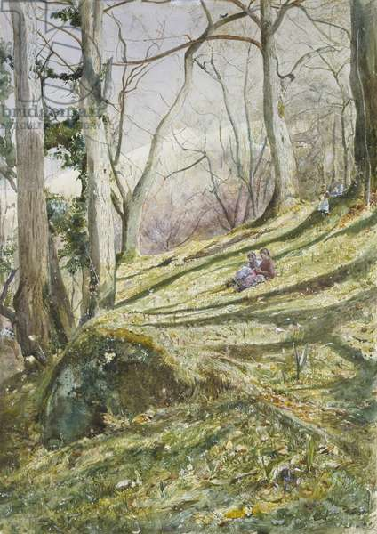 Wooded Slope with four Figures (watercolour on paper)
